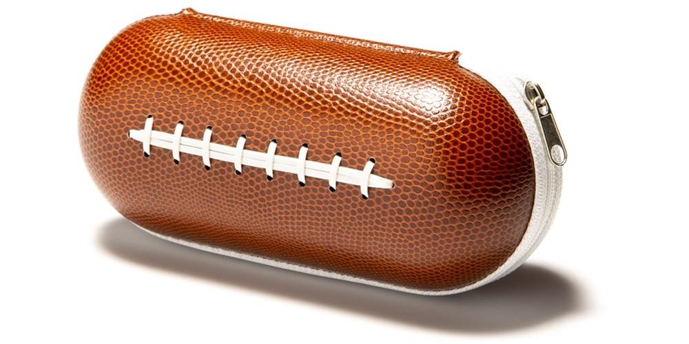 Football Faux LEATHER Zipper Wholesale Sunglasses Cases CASE-203FB
