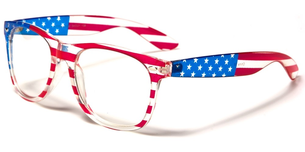 USA FLAG Classic Unisex Wholesale Glasses W-7110-FLAG-CLEAR