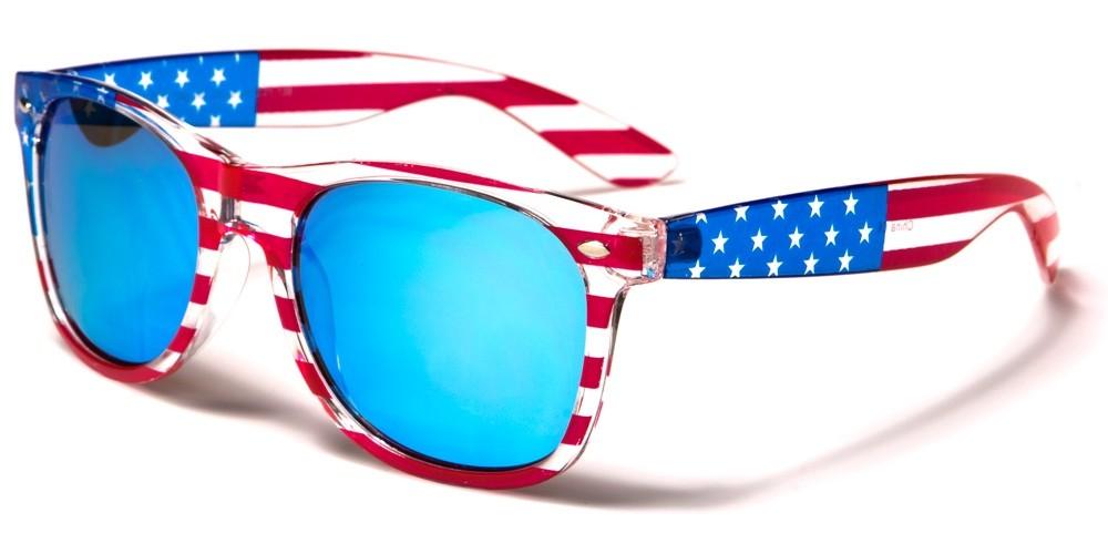 Classic USA Flag Mirrored Wholesale Sunglasses W-7110-FLAG-ICE-BLUE