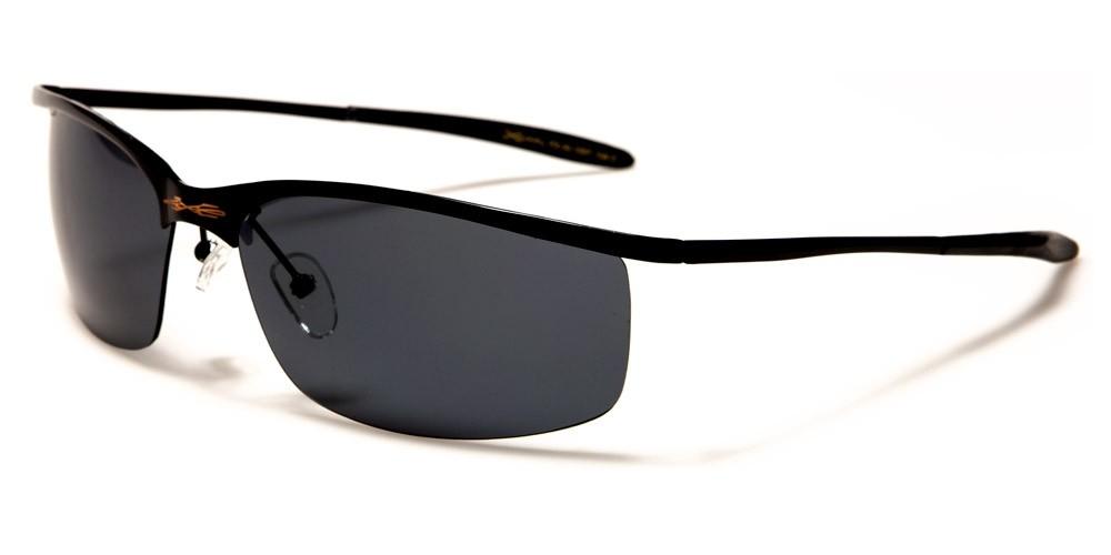 Mens Semi-Rimless X-Loop Metal Sunglasses
