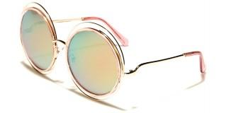 Round Pink Lens Women's Wholesale Sunglasses M10192-PINK