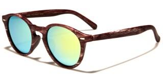 Wood-Print Round Unisex Wholesale Sunglasses P6044-CM