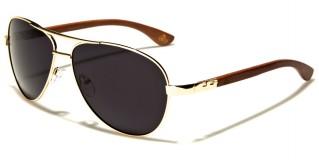 Aviator Wood Unisex Sunglasses Wholesale WD-2031M