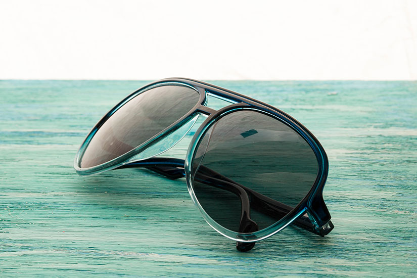 sunglasses on material